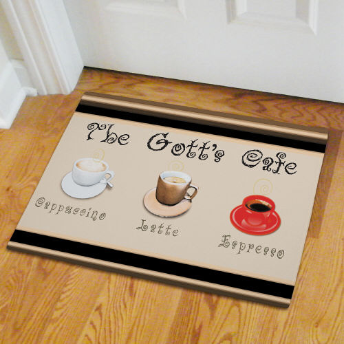Personalized Cafe Personalized Kitchen Door Mat | Personalized Doormats