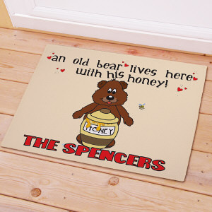 Old Bear and His Honey Personalized Doormat