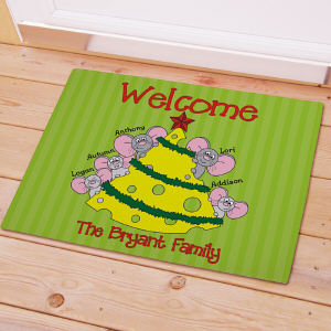 Personalized Mice Family Doormat