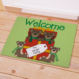 Teddy Bear Family Personalized Doormat