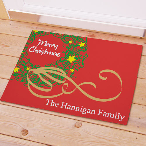 Personalized Christmas Wreath Doormat Custom Merry