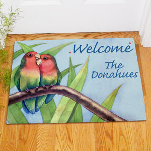 Personalized Love Birds Welcome Doormat