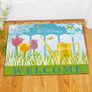 Watering Can Personalized Welcome Doormat