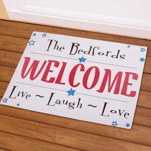 Personalized Live Laugh Love Patriotic Doormat