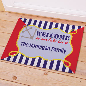 Personalized Family Lake House Welcome Doormat | Good Housewarming Gifts