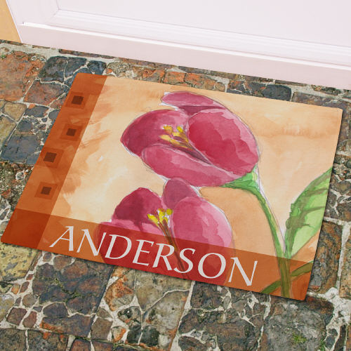 Personalized Red Tulips Welcome Doormat