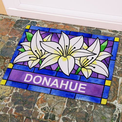 Personalized Lily Flowers Welcome Doormat 83155457