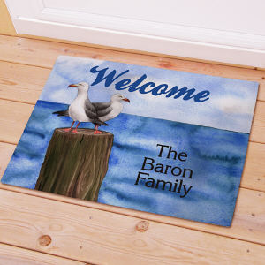 Personalized  Welcome Doormat Seagull Design
