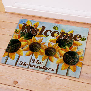 Personalized Sunflower Welcome Doormat