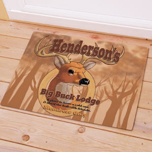 Personalized Big Buck Lodge welcome Doormat