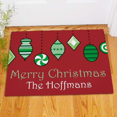 Personalized Holiday Ornaments Doormat | Personalized Christmas Doormats