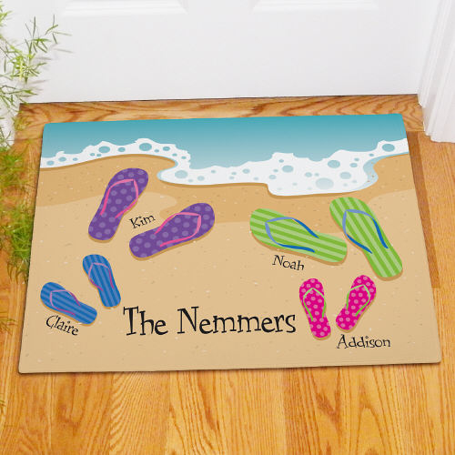 Personalized Flip Flop Family Welcome Doormat 83163217X