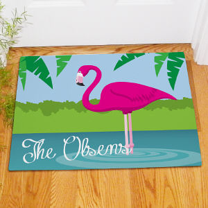 Personalized Flamingo Doormat