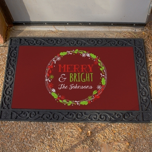 Personalized Merry & Bright Christmas Doormat