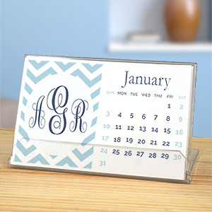 Personalized Chevron Monogram Desk Calendar