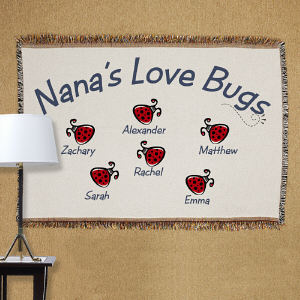 Personalized Love Bugs Tapestry Throw Blanket | Personalized Blankets