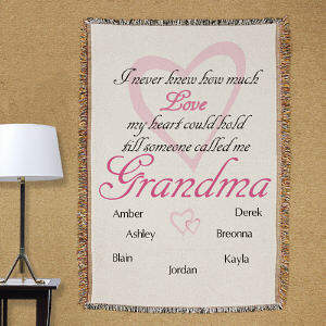 Personalized How Much Love Tapestry Throw Blanket | Personalized Grandma Gifts