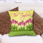 Personalized Spring Tulips Throw Pillow