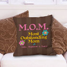 Personalized Outstanding Mom Throw Pillow