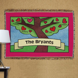 Personalized Family Tree Tapestry Throw Blanket