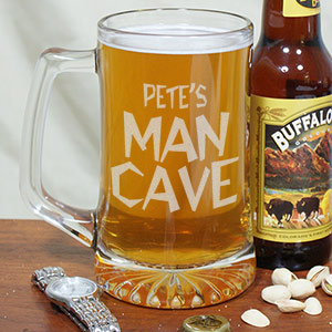Man Cave Personalized Sports Glass Mug