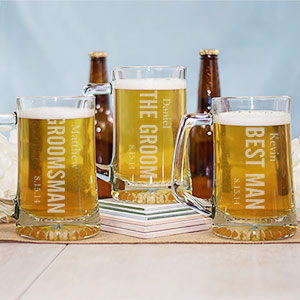 Engraved Wedding Party Glass Mug
