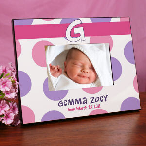Personalized New Baby Polka Dot Printed Frame