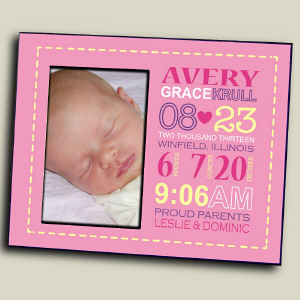 Personalized Girl Birth Announcement Printed Frame