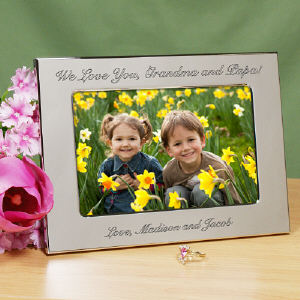 Engraved Custom Message Silver Picture Frame