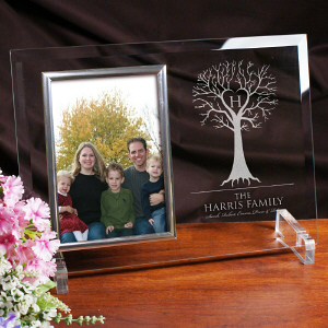 Engraved Family Tree Beveled Glass Frame
