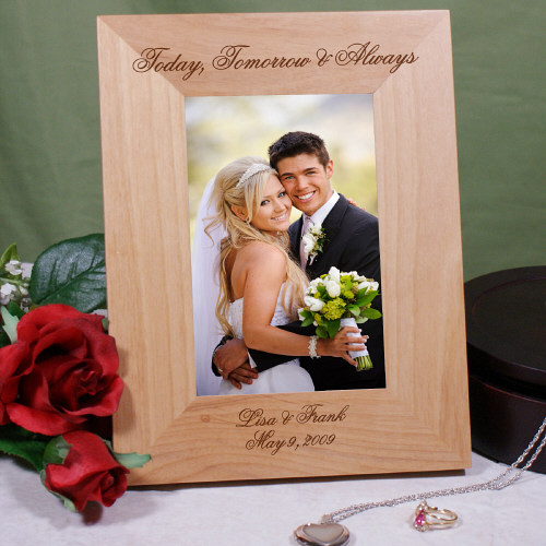 Engraved Today, Tomorrow & Always Wedding Wood Picture Frame 927381