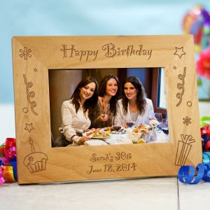 Engraved Happy Birthday Wood Picture Frame