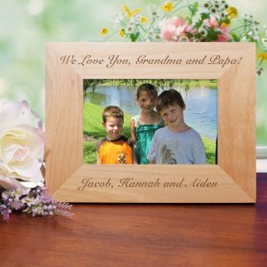Engraved Custom Message Wood Picture Frame