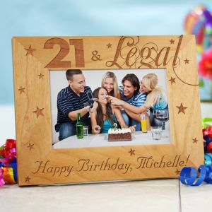 Engraved 21st Birthday Wood Picture Frame 939691