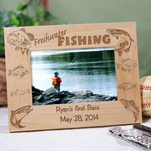 Engraved Freshwater Fishing Wood Picture Frame 944731