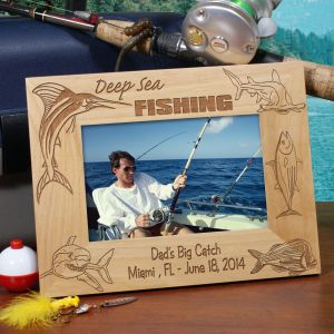 Engraved Deep Sea Fishing Wood Picture Frame | Personalized Fishing Gifts