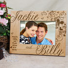 Engraved Couples Hearts Wood Picture Frame