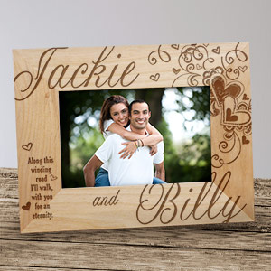 Engraved Couples Hearts Wood Picture Frame | Personalized Valentines Frames