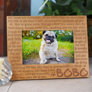 Engraved Memories Pet Memorial Wood Picture Frame | Personalized Wood Picture Frames