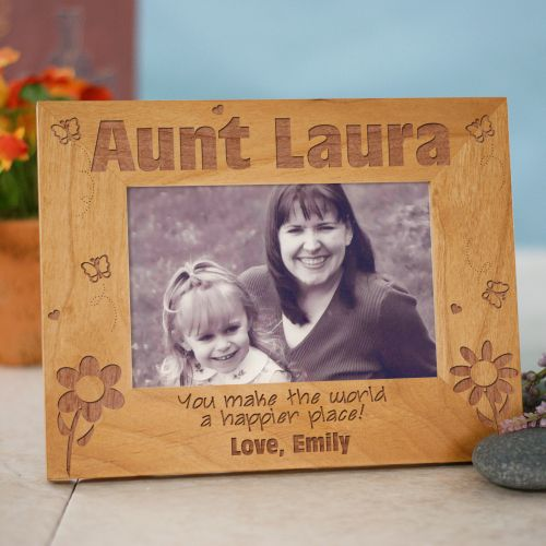 Aunt Happier Place Personalized Wood Picture Frame