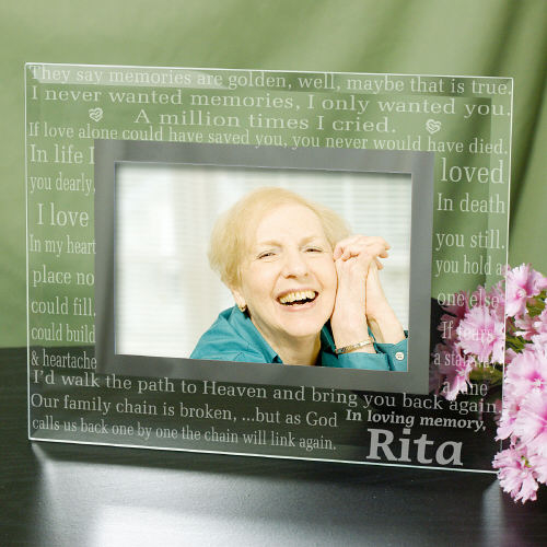 Engraved In Loving Memory Memorial Glass Frame | Personalized Picture Frames