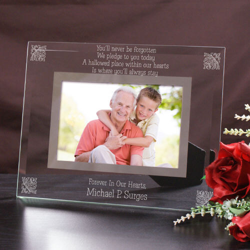 Engraved Memorial Glass Picture Frame | Personalized Picture Frames