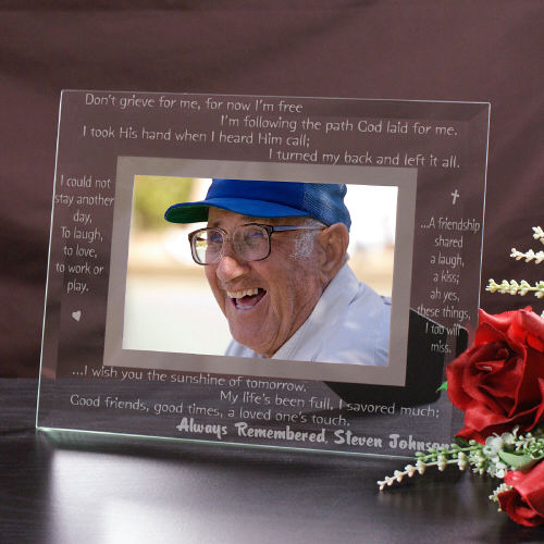 Engraved Memorial Glass Picture Frame G912911