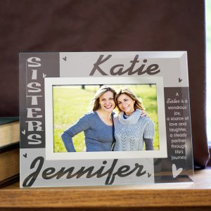 Sisters Personalized Glass Photo Frame
