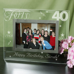 Engraved 40th Birthday Glass Picture Frame