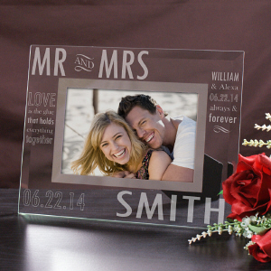 Engraved Mr. and Mrs. Glass Picture Frame G97302