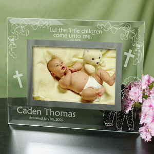 Engraved New Baby Glass Picture Frame