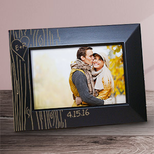 Engraved Tree Carving Black Frame