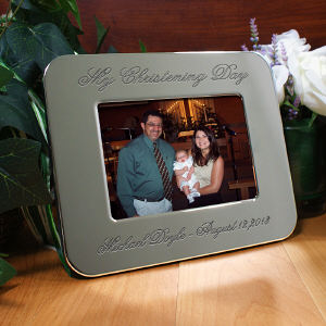 Engraved Christening Day Silver Picture Frame