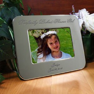 Engraved Flower Girl Silver Picture Frame